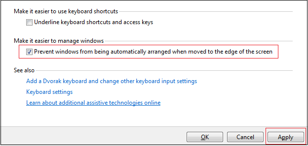 disable snap view in windows