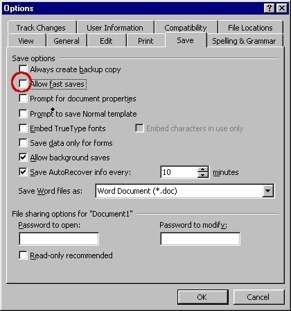 reduce file sizes in Microsoft Word