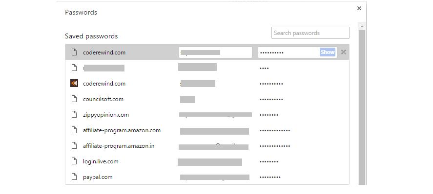 view passwords