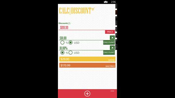 windows phone discount calculator apps